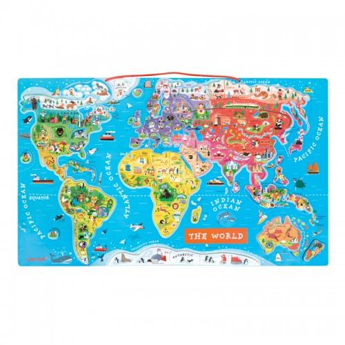 JANOD magnetinė pasaulio žemėlapio dėlionė