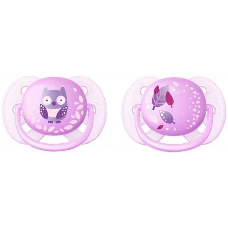 """AVENT 0-6 mėn. silikoninis čiulptukas """"Švelnus dekoruotas"""" (pink)"""