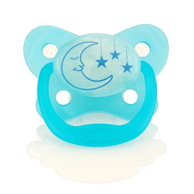 """DR. BROWN`S 6-12 mėn. """"PreVent"""" naktį šviečiantis čiulptukas (mėlynas) 1 vnt."""