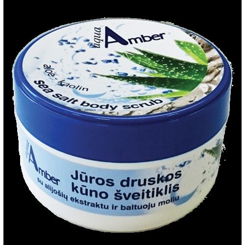 AQUA AMBER jūros druskos kūno šveitiklis su alavijais ir baltuoju moliu 300 g.