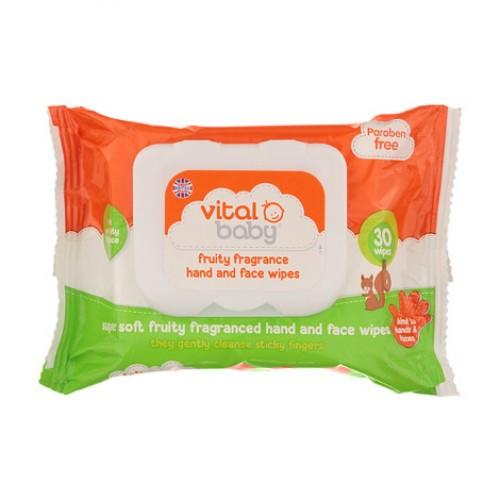 VITAL BABY vaisinio aromato drėgnos rankų ir veido servetėlės 30 vnt.