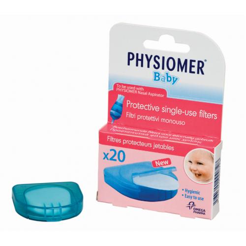 PHYSIOMER vienkartiniai filtrai kūdikio nosies gleivių atsiurbikliui 20 vnt.